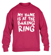 My home is at the boxing ring children's pink sweater 12-14 Years