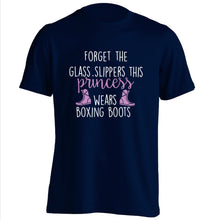 Forget the glass slippers this princess wears boxing boots adults unisex navy Tshirt 2XL