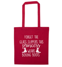 Forget the glass slippers this princess wears boxing boots red tote bag