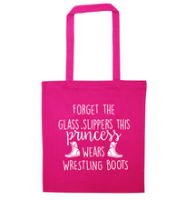 Forget the glass slippers this princess wears wrestling boots pink tote bag