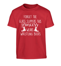 Forget the glass slippers this princess wears wrestling boots Children's red Tshirt 12-14 Years