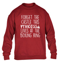 Forget the castle this princess lives at the boxing ring children's grey sweater 12-14 Years