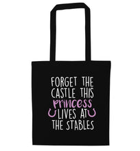 Forget the castle this princess lives at the stables black tote bag