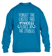 Forget the castle this princess lives at the stables children's blue sweater 12-14 Years