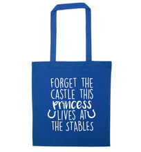 Forget the castle this princess lives at the stables blue tote bag