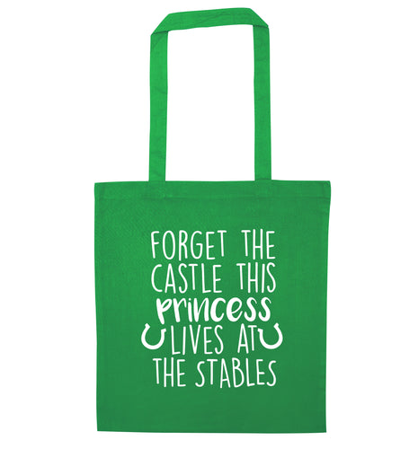 Forget the castle this princess lives at the stables green tote bag