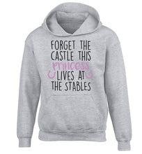 Forget the castle this princess lives at the stables children's grey hoodie 12-14 Years