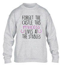 Forget the castle this princess lives at the stables children's grey sweater 12-14 Years