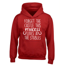 Forget the castle this princess lives at the stables children's red hoodie 12-14 Years
