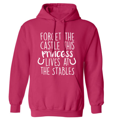 Forget the castle this princess lives at the stables adults unisex pink hoodie 2XL