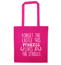 Forget the castle this princess lives at the stables pink tote bag
