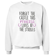 Forget the castle this princess lives at the stables Adult's unisex white Sweater 2XL