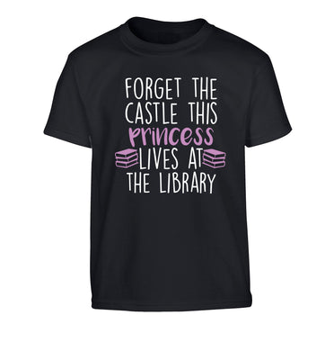 Forget the castle this princess lives at the library Children's black Tshirt 12-14 Years