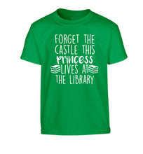 Forget the castle this princess lives at the library Children's green Tshirt 12-14 Years