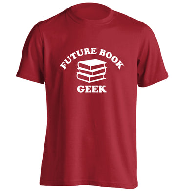 Future book geek adults unisex red Tshirt 2XL