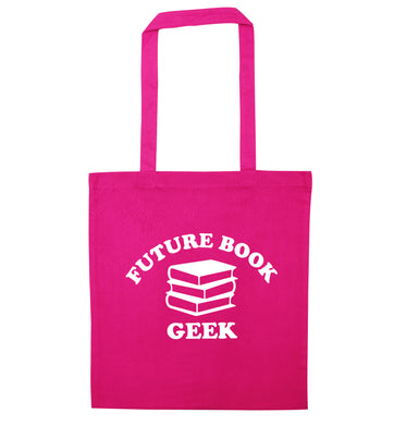 Future book geek pink tote bag