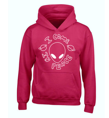I come in peace children's pink hoodie 12-14 Years