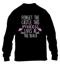 Forget the castle this princess lives at the beach children's black sweater 12-14 Years