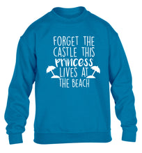Forget the castle this princess lives at the beach children's blue sweater 12-14 Years