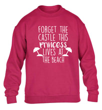 Forget the castle this princess lives at the beach children's pink sweater 12-14 Years