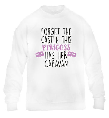 Forget the castle this princess lives at the caravan children's white sweater 12-14 Years