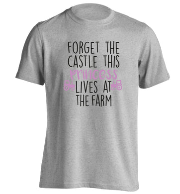 Forget the castle this princess lives at the farm adults unisex grey Tshirt 2XL