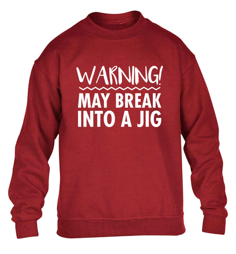 Warning may break into a jig children's grey sweater 12-13 Years