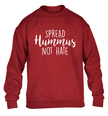 Spread hummus not hate script text children's grey sweater 12-14 Years
