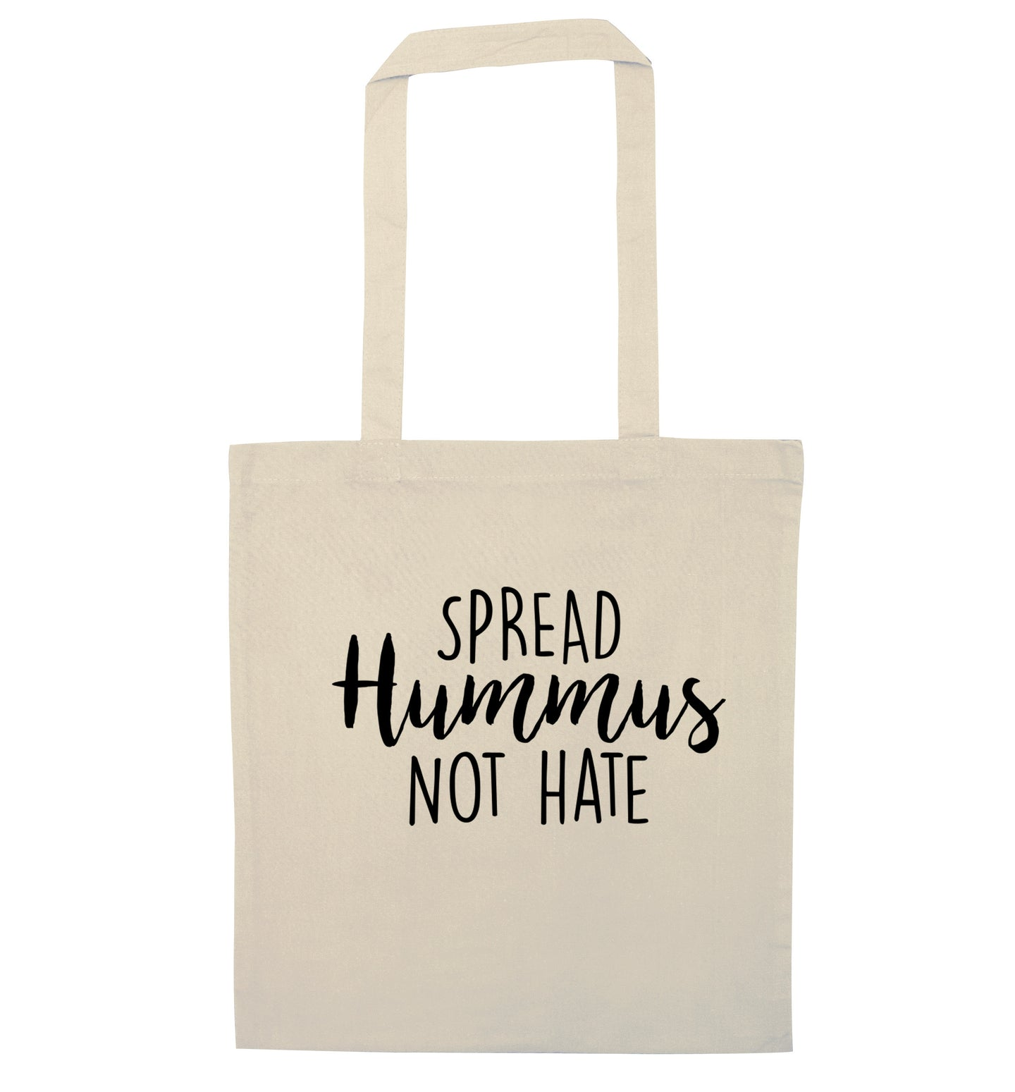 Spread hummus not hate script text natural tote bag