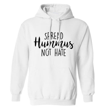 Spread hummus not hate script text adults unisex white hoodie 2XL