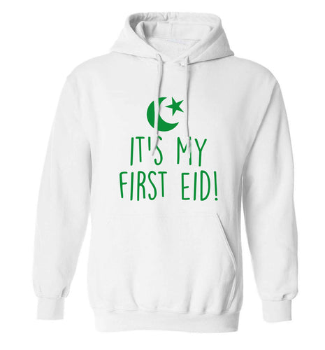 It's my first Eid adults unisex white hoodie 2XL