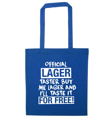 Official lager taster buy me lager and I'll taste it for free! blue tote bag