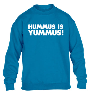 Hummus is Yummus  children's blue sweater 12-14 Years