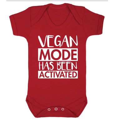 Vegan mode activated Baby Vest red 18-24 months