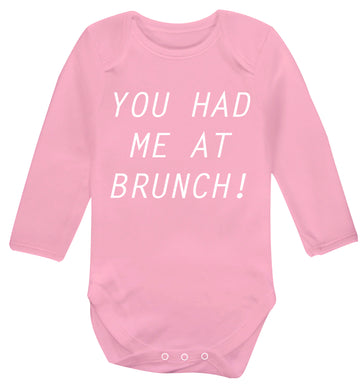 You had me at brunch Baby Vest long sleeved pale pink 6-12 months