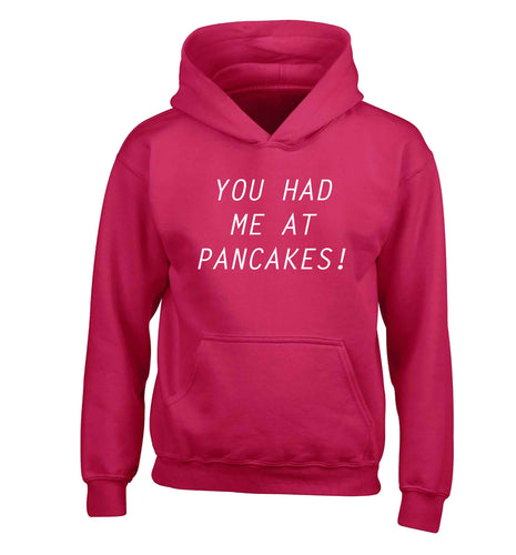 You had me at pancakes children's pink hoodie 12-13 Years