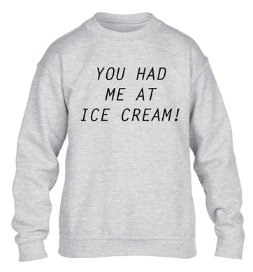 You had me at ice cream children's grey sweater 12-14 Years