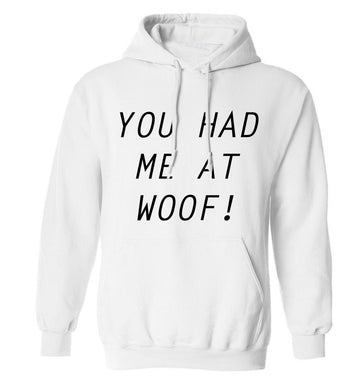 You had me at woof adults unisex white hoodie 2XL