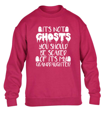 It's not ghosts you should be scared of it's my granddaughter! children's pink sweater 12-14 Years