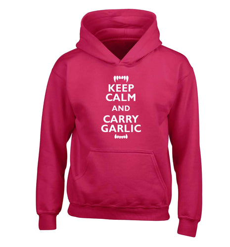 Keep calm and carry garlic children's pink hoodie 12-13 Years