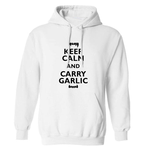 Keep calm and carry garlic adults unisex white hoodie 2XL