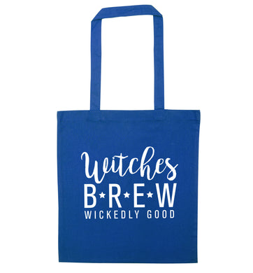 Witches Brew wickedly good blue tote bag