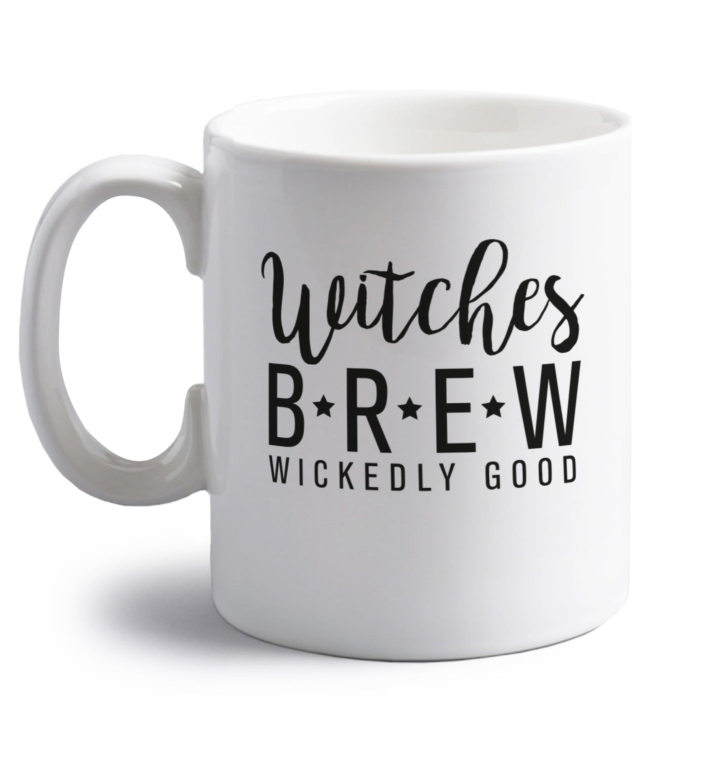 Witches Brew right handed white ceramic mug