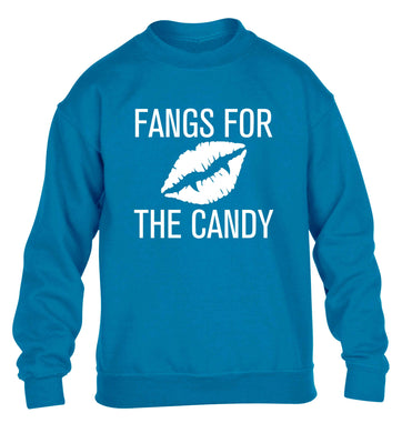 Fangs for the candy children's blue sweater 12-13 Years