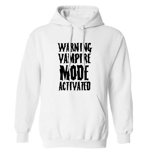 Warning vampire mode activated adults unisex white hoodie 2XL