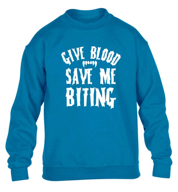 Give blood save me biting children's blue sweater 12-13 Years