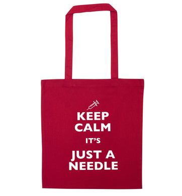 Keep calm it's only a needle red tote bag