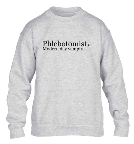 Phlebotomist: Modern day vampire children's grey sweater 12-14 Years