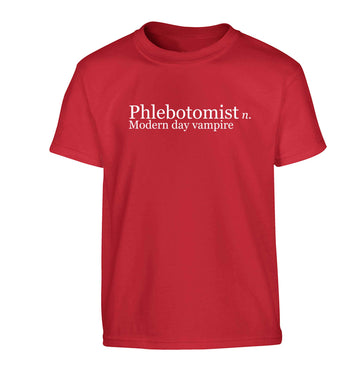 Phlebotomist - Modern day vampire Children's red Tshirt 12-13 Years