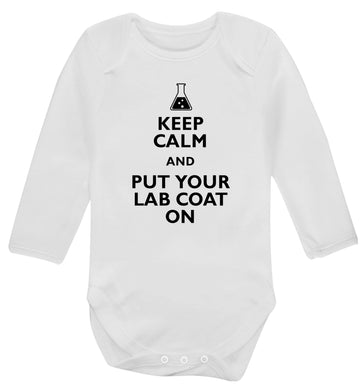 Keep calm and put your lab coat on Baby Vest long sleeved white 6-12 months